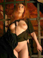 Medieval redheaded witch torture