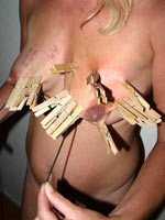 Wooden clothespins on tits